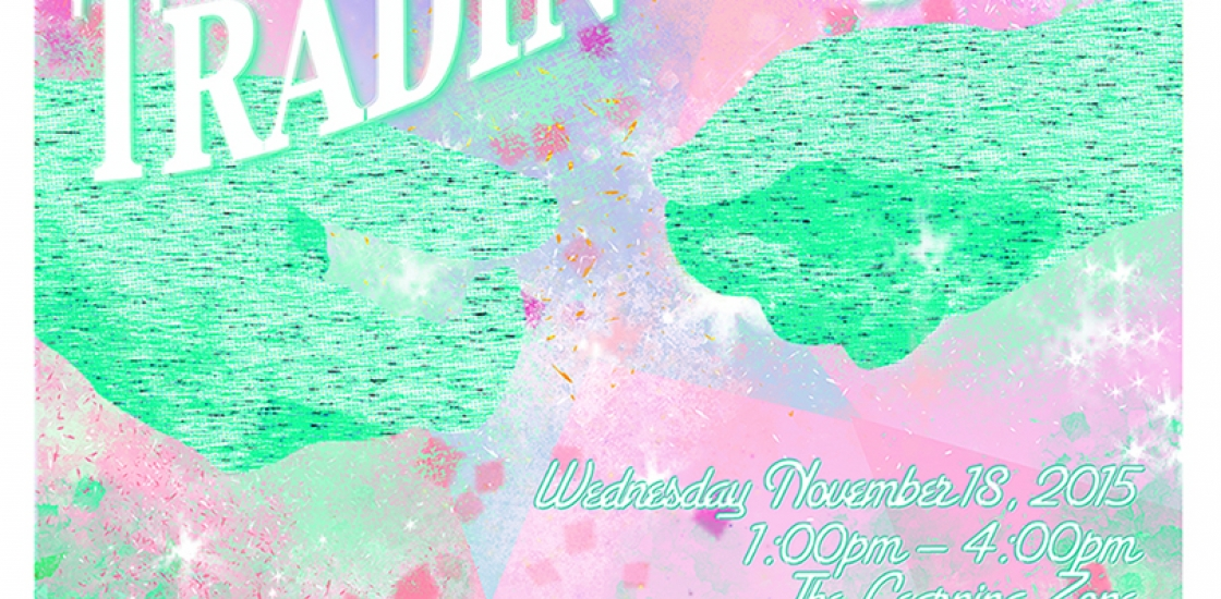 Materials Trading Post poster with event info and abstract collage of seafoam green waves and light pink glimmering blobs.