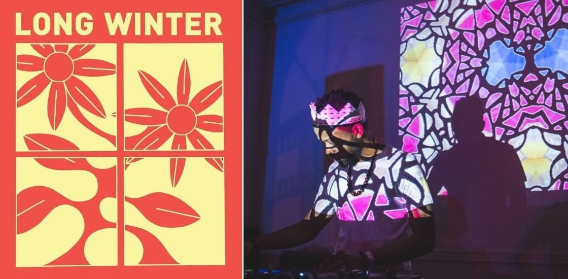 left image in red and yellow of flower graphic with long winter name. Right, image of person djing with projections over face.