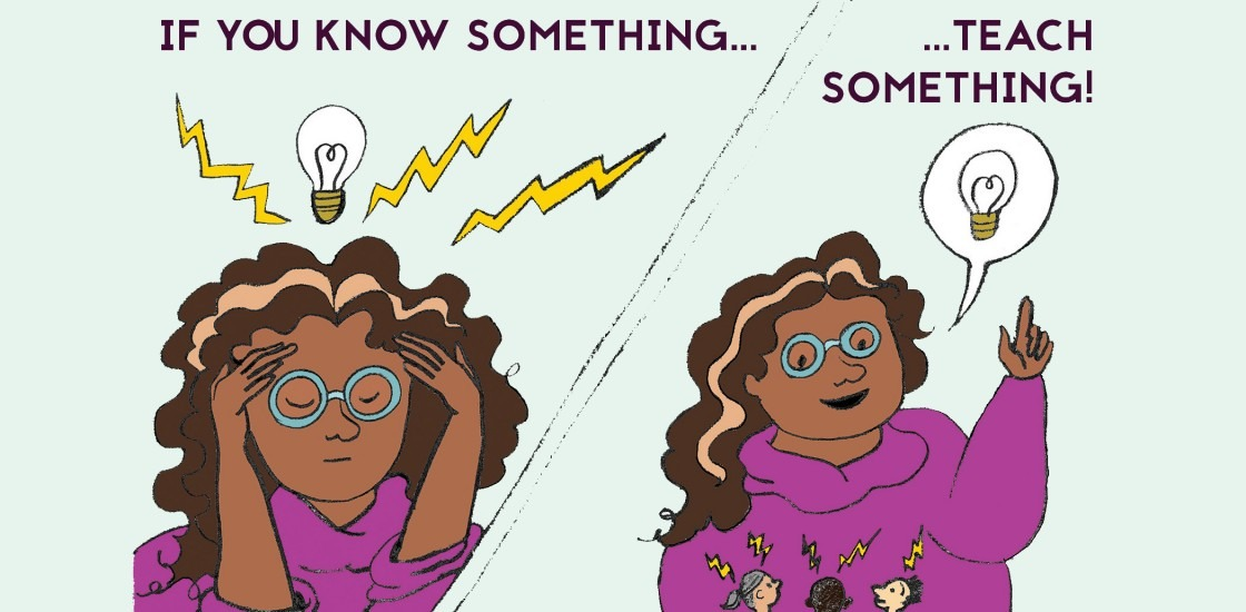 On the left, a drawing of a person having an idea represented by a lightbulb. On the right, the same person shares the idea