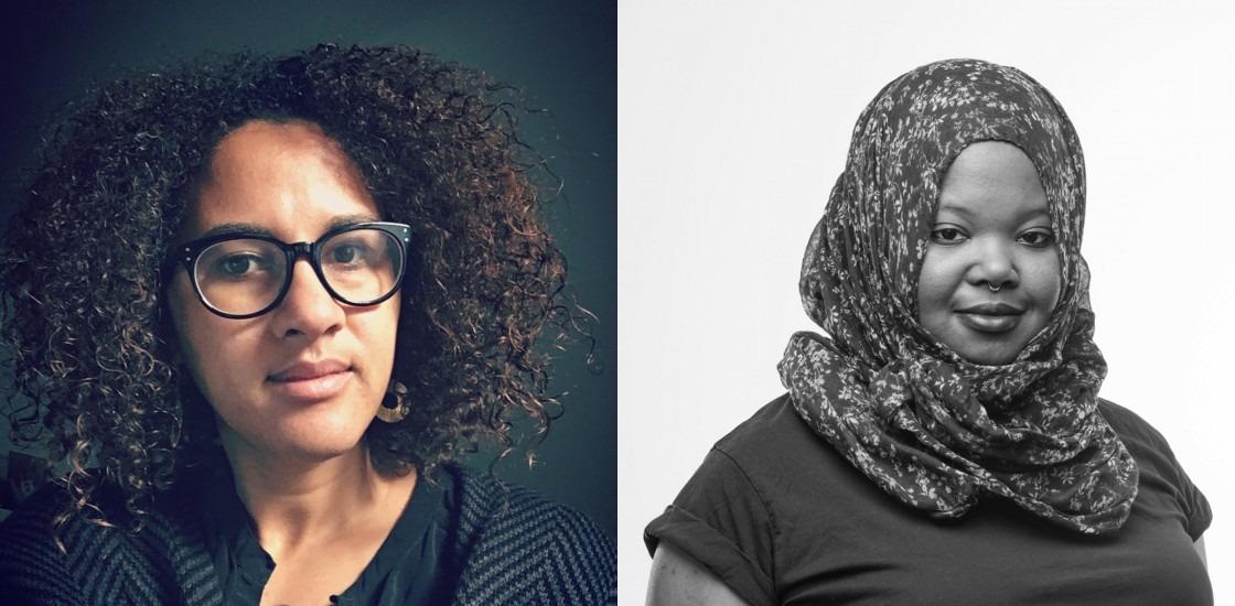 Photo of Liz Irikiko on left and photo of Kameelah Janan Rasheed on right.