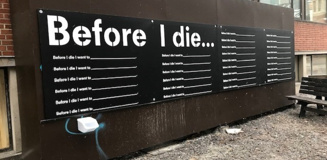 "Large panel that states ""before I die"" and has lines to fill in the blanks"