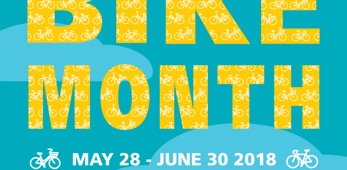 Bike Month May 28- June 30, 2018; @bikemonth; #bikemonth; bikemonth.ca