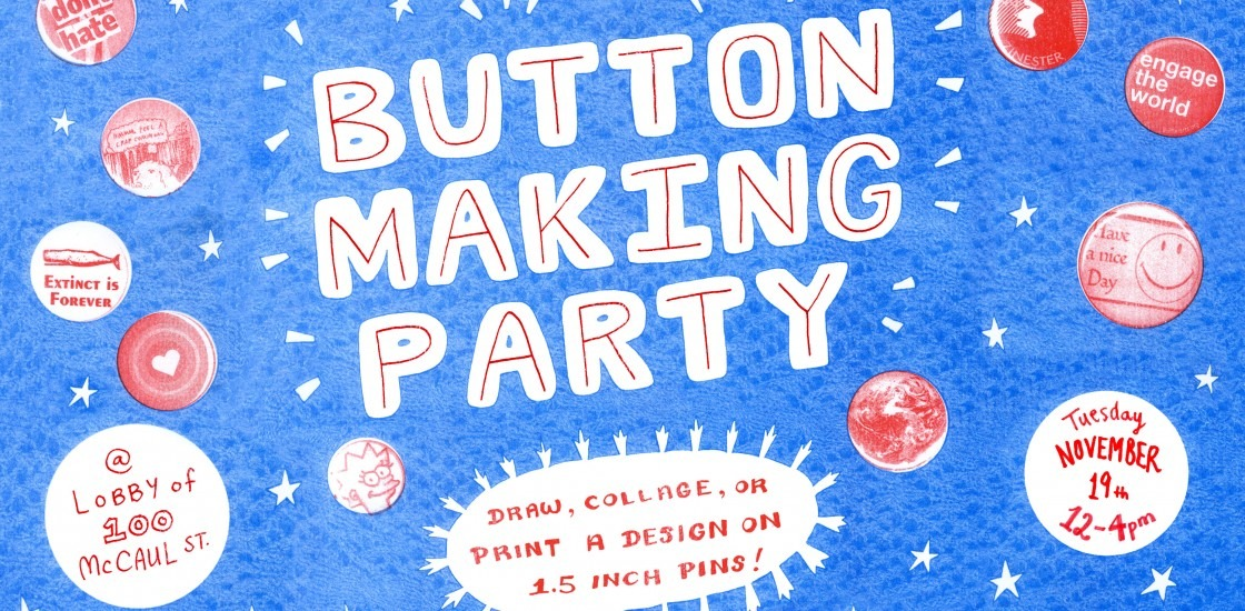"""Floating, glowing hand drawn letters with the text """"Button making party"""""""