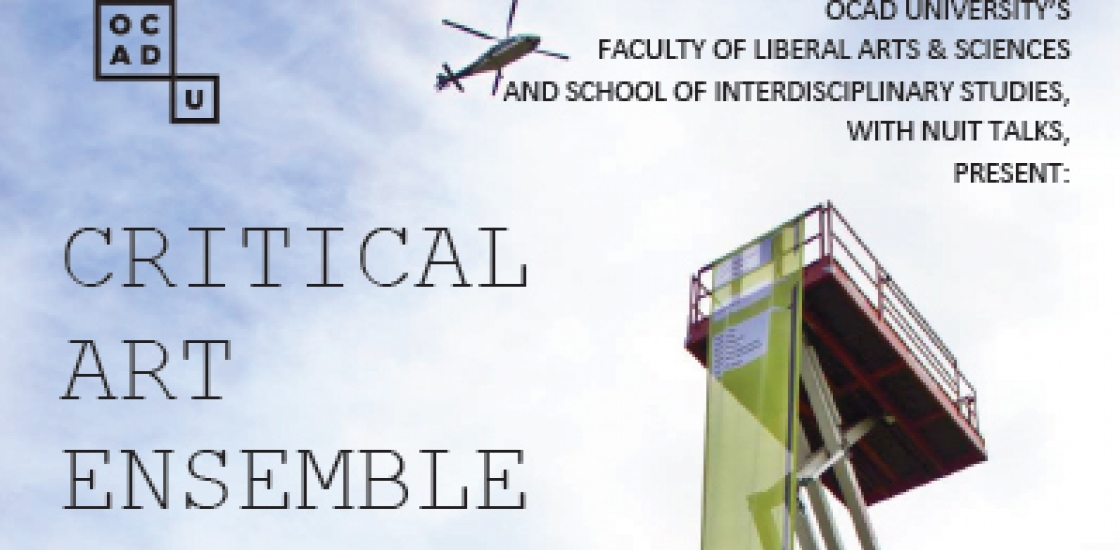Poster with a scissor lift against a blue sky