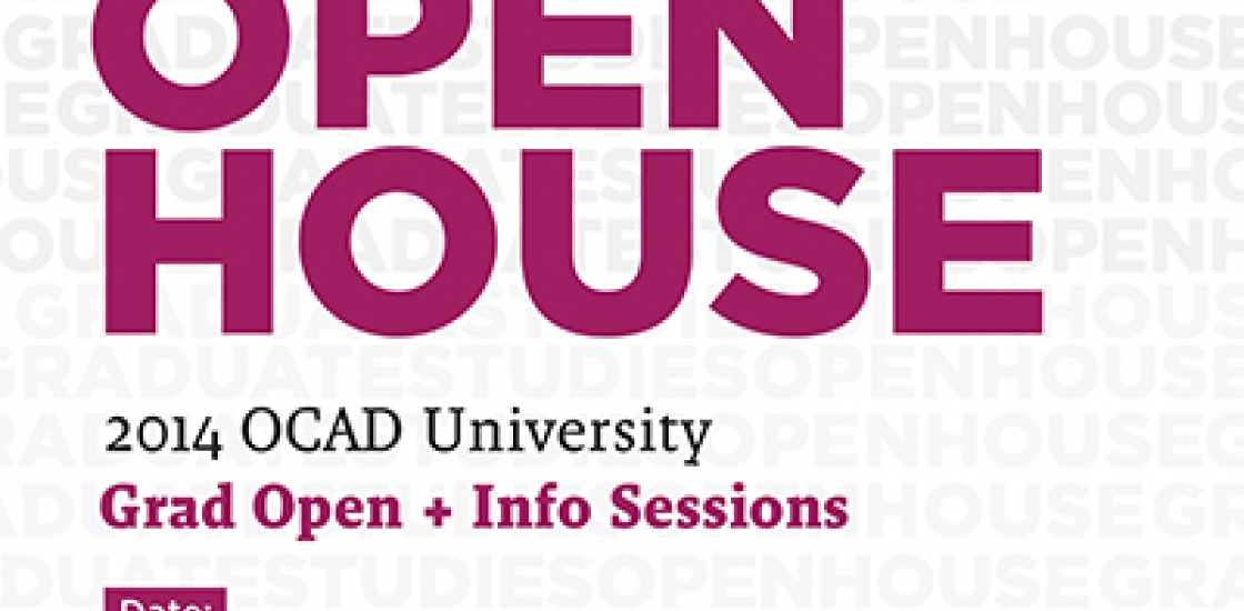 Graduate Studies Open House poster with grey and pink text against white background