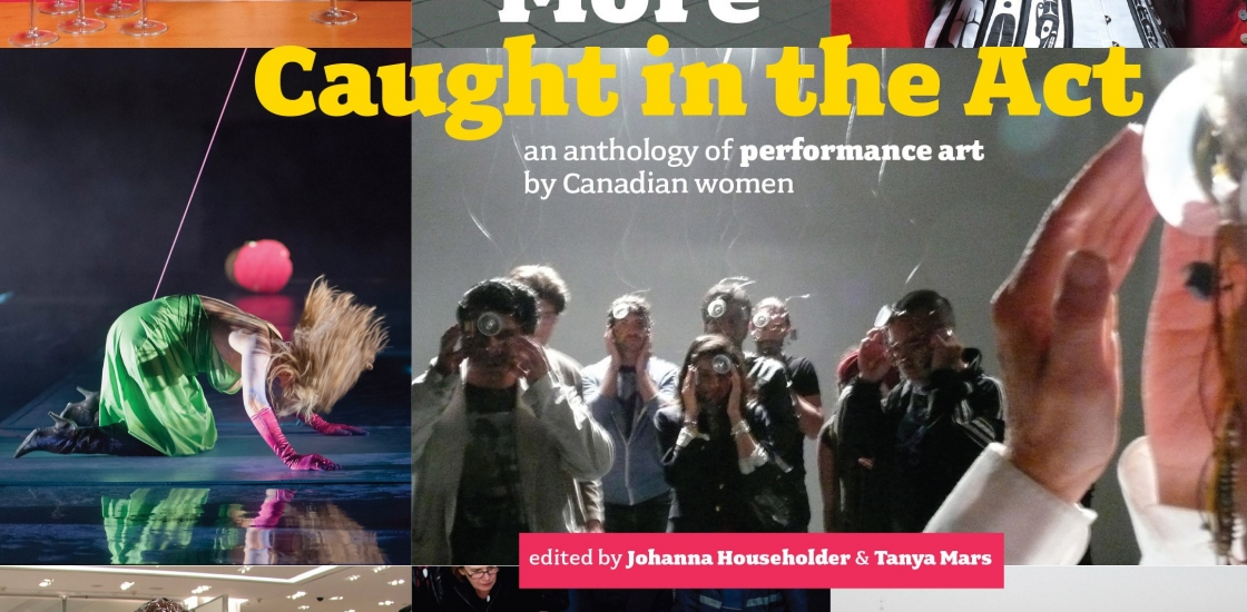 book cover with multiple images of preformance art