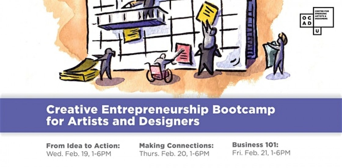 illustration of characters climbing calendar. Purple banner that reads Creative Entrepreneurship Bootcamp for Artists & Designer