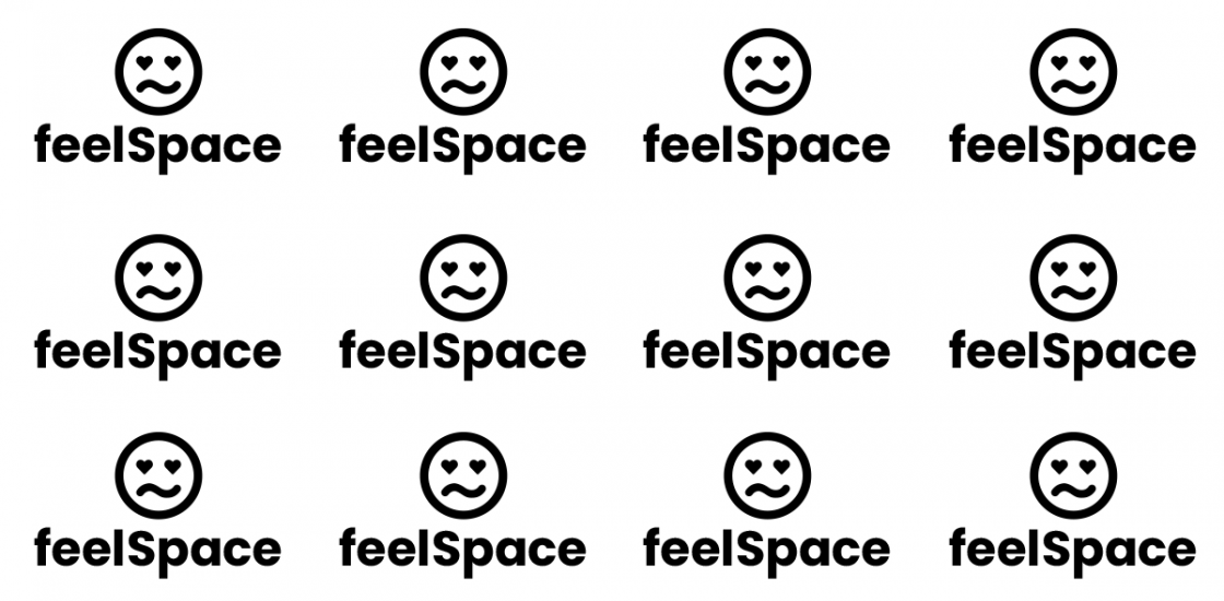 a grid of a simple drawing of a face, with the words feelSpace below