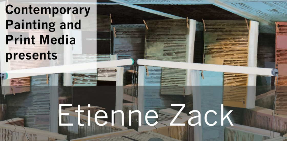 Poster with Etienne Zack's name in white type against background of printed sheets of paper