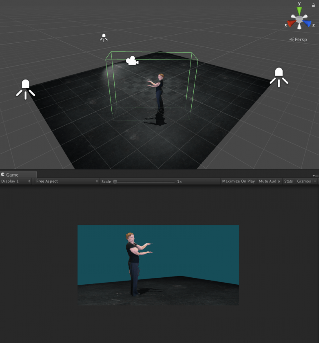 Image prototype using volumetric capture: two views from different angles of a figure standing in a rectangular prism