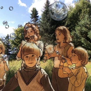 graphic/photo image of children outdoors blowing bubbles
