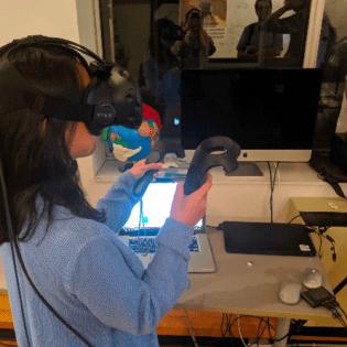 Inclusive Design student exploring VR prototype