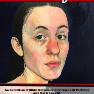 a painted portrait featured on the exhibition poster with text details