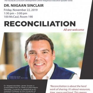 Poster of Niigaan Sinclair talk at OCAD U on Nov 22, 2019