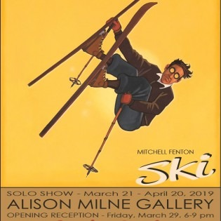 deco poster style downhill skiier