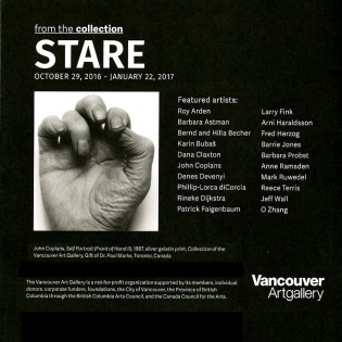 Poster for STARE, black and white photo of a hand plus exhibition text