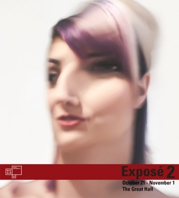 Expose 2 poster with event info, OCAD U logo and warped photograph of woman's head