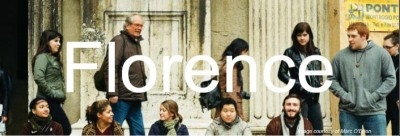 """Photo of students in Florence with the word """"Florence"""""""