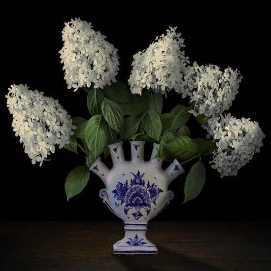 "T.M. Glass,Hydrangeas in a Dutch Tulipière, 2017, archival pigment ink on archival cotton rag paper fused to Dibond, 58"" x 58""."