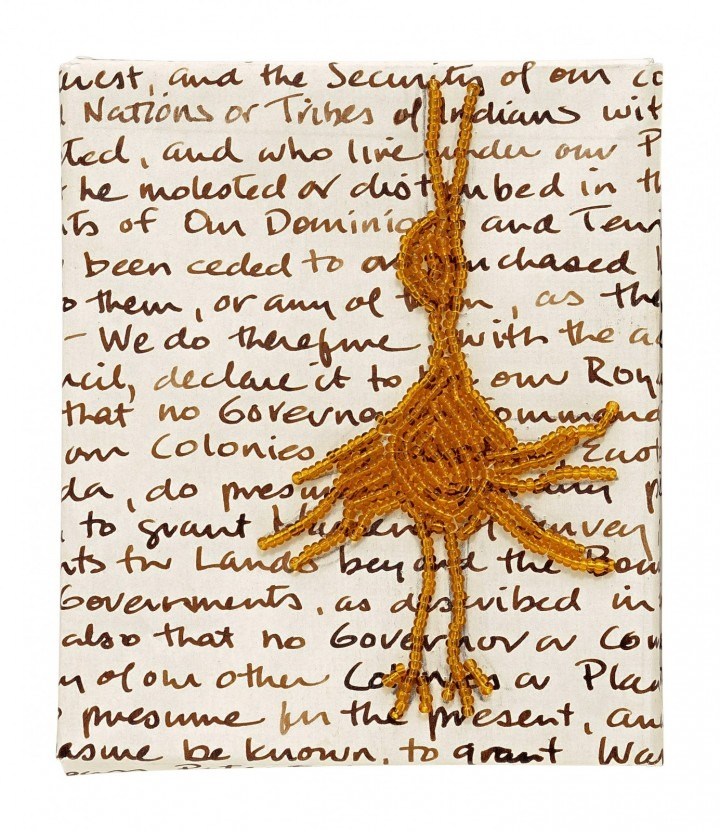 Bonnie Devine;Royal Proclamation;2015;graphite, ink, cotton, thread and glass beads on paper;10 x 12 cm. Courtesy of theLuc
