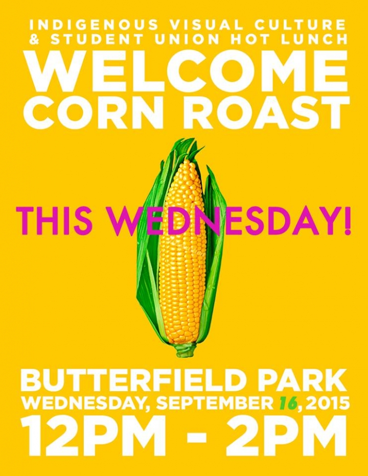 Welcome Corn Roast poster with event info and picture of corn