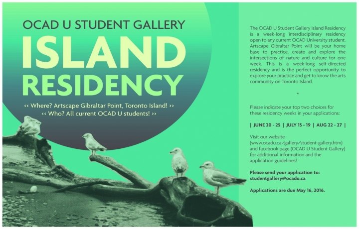 OCAD U Student Gallery Island Residency with event info and photo of seagulls on beach