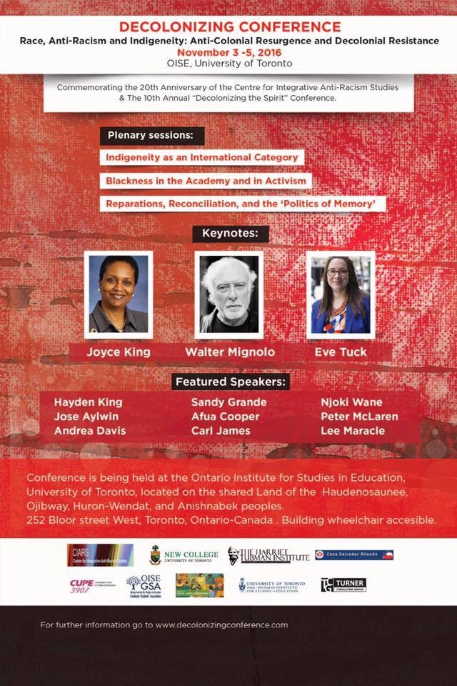 Decolonizing Conference Poster with event info and headshots of Keynote speakers