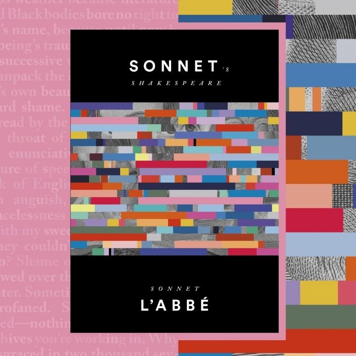 Book cover on a pink background. White text reads Sonnet's Shakespeare on black background,