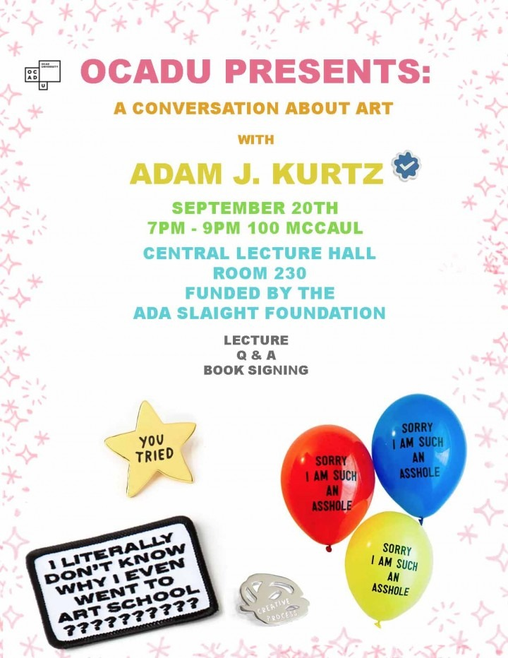 Adam J. Kurtz, A Conversation About Art poster, text on white background, colourful balloons