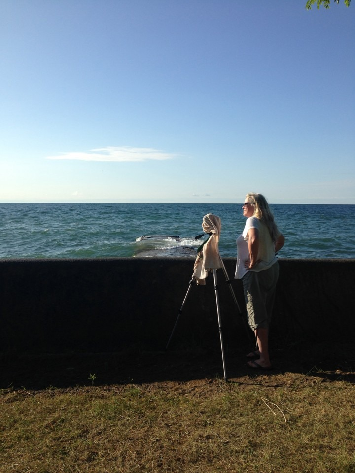 photo of the artist and her camera looking out over water