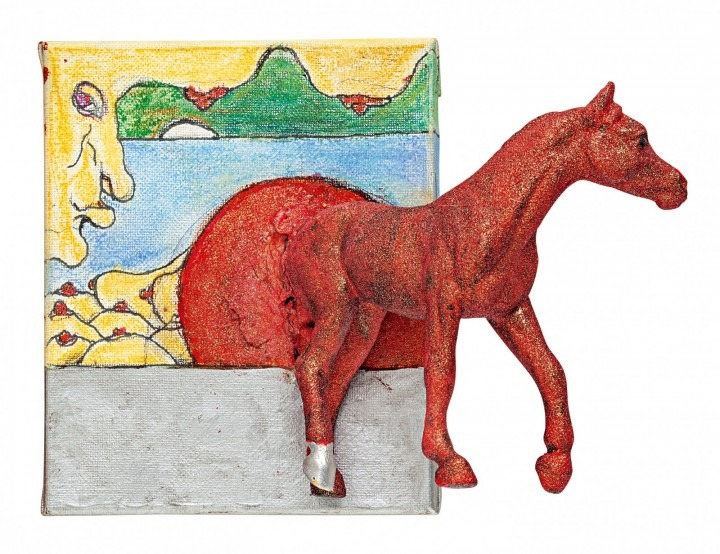 Image: Barry Callaghan, Off the Wall Horseman, 2015, mixed media, 10 x 12 cm. Courtesy of the Luciano Benetton Collection.