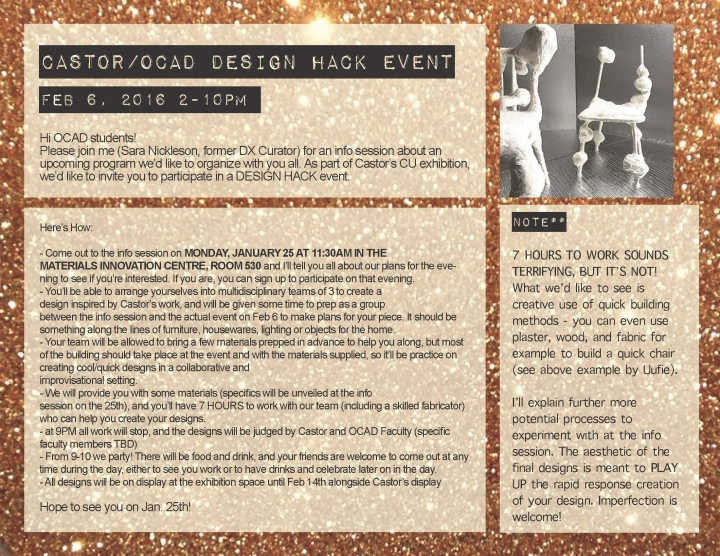 CASTOR/OCAD DESIGN HACK EVENT with event info and photograph of 3D sculptures