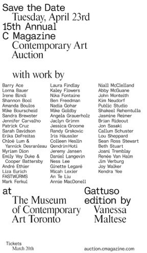 list of artist names participating in auction for C magazine