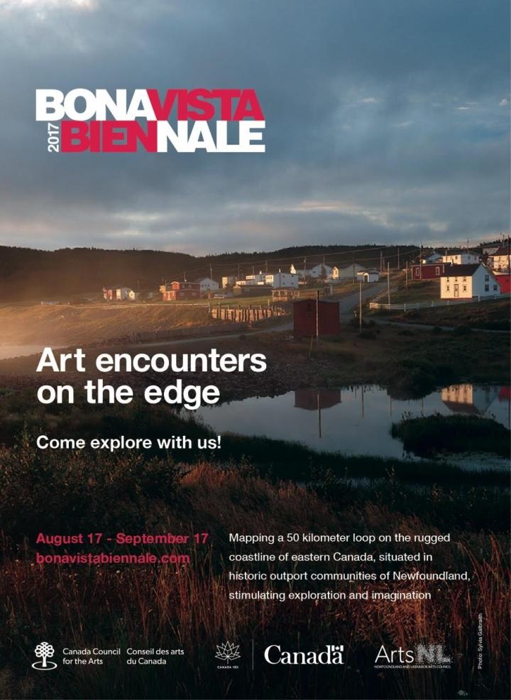 BONAVISTA BIENNALE 2017 poster, Landscape photo and text