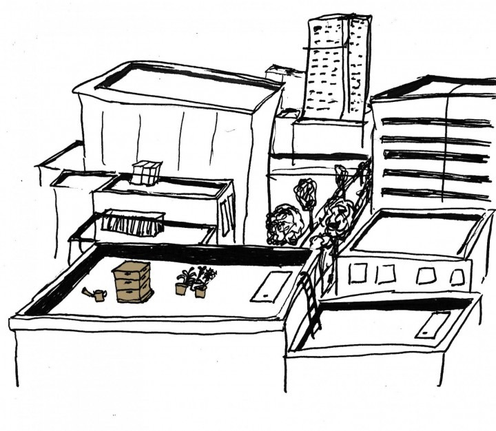 Illustration of city rooftops with beehives