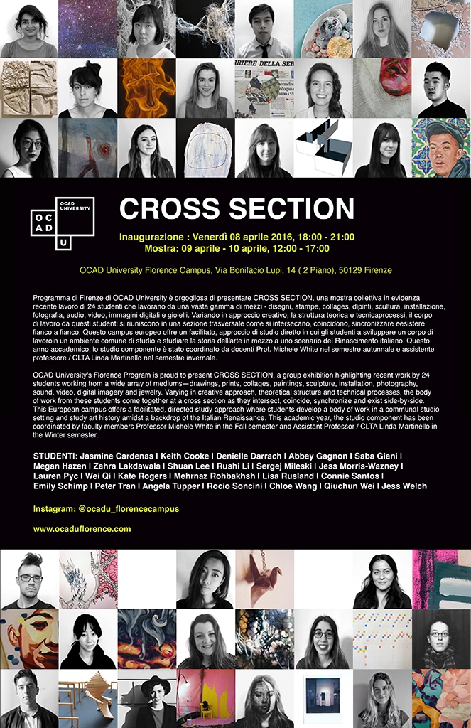 CROSS SECTION: Florence 2015-16 program exhibition poster, images of students and artwork along with text of exhibition details