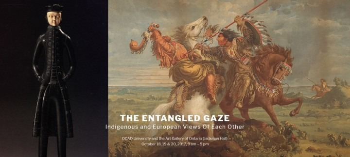 Poster for event, features painting of an Indigenous persons on horseback, and a sculpture of a European captain