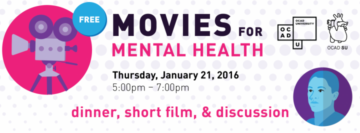 Movies for mental health banner with event info and illustrations of a face and film camera