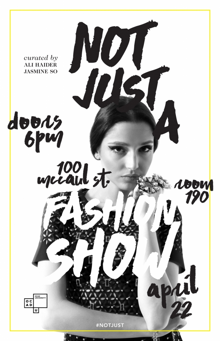 Not Just A Fashion Show poster with event info and photo of model with hand jewelry