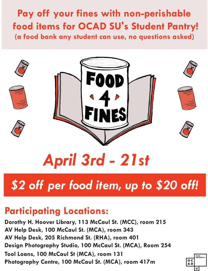 Food for Fines, April 3 - 21, $2 off per food item up to $20 off