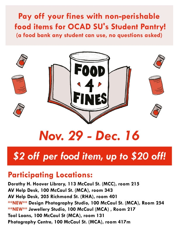 Food for Fines, Nov. 20 - Dec 16, $2 off per food item, up to $20 off!