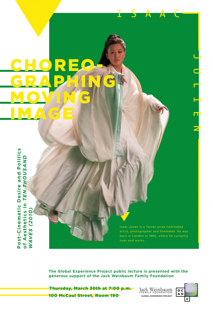Photo of female in flowing robes on green background