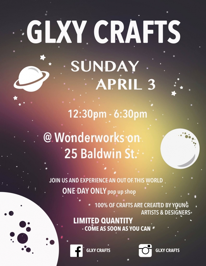 GLXY CRAFTS poster with event info and illustration of outer space with stars and planets