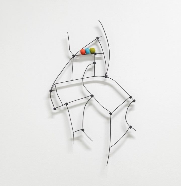 wire and ball based wall sculpture