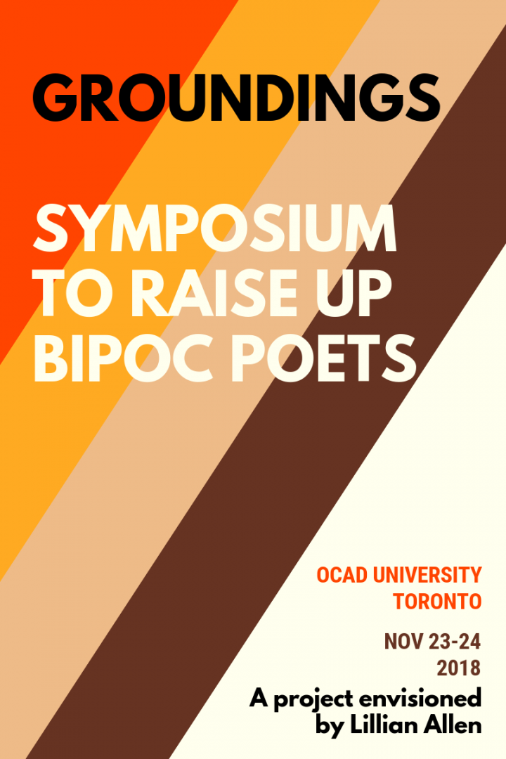 """GROUNDINGS"" in Brown text ""SYMPOSIUM TO RAISE UP BIPOC POETS"" in cream on red, orange, beige, brown, and cream diagonal stripes"