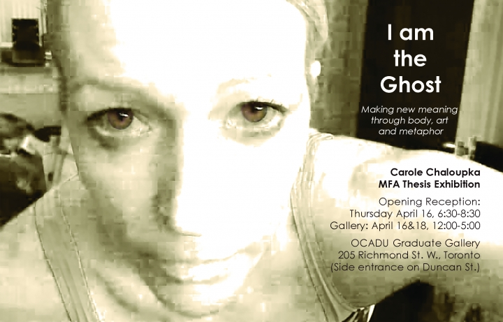 I am the Ghost poster with event info and webcam still of Carole Chaloupka