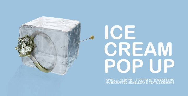 Ice Cream Pop Up poster with event info and mockup of a gold ring and pin inside an ice cube