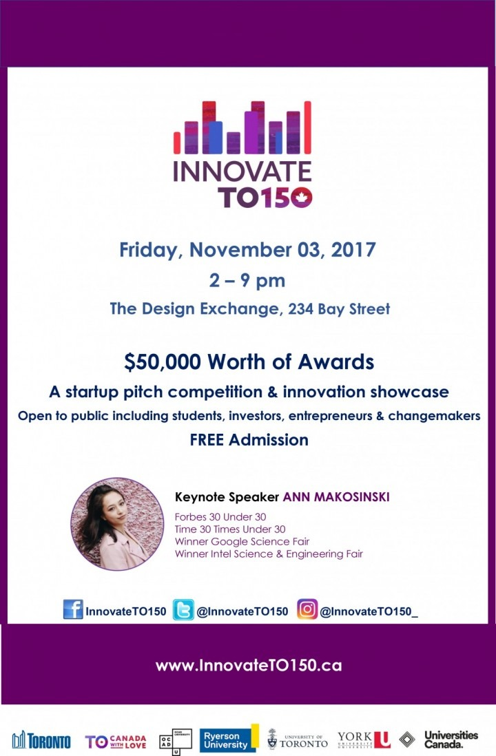 Innovate T. O. 150 poster showing keynote speaker Ann Makosinski, $50,000 worth of awards, and event information.