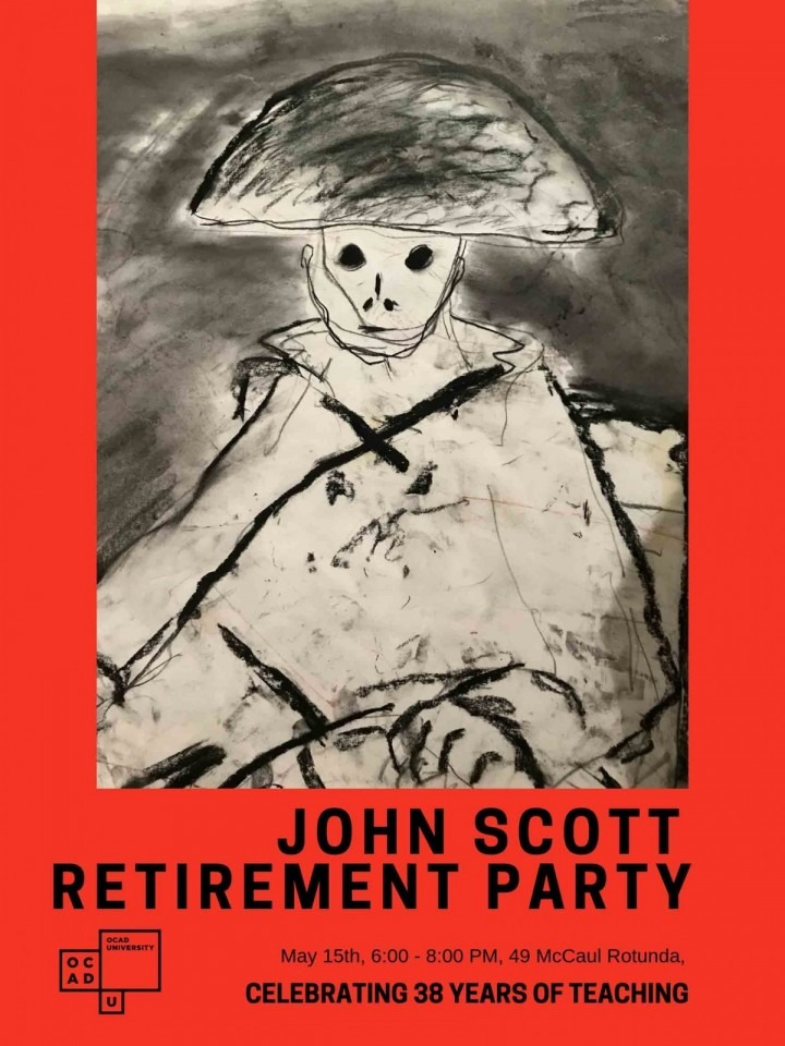 poster for retirement party featuring a John Scott illustration