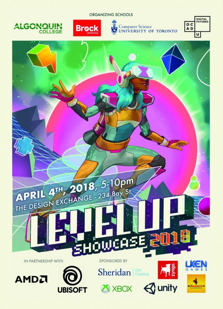 Level Up poster with game characters